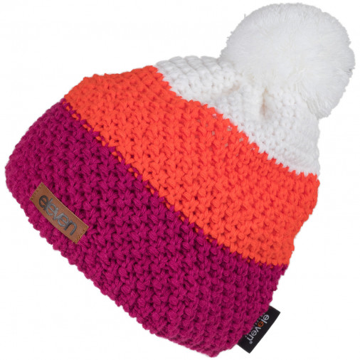 Knitted beanie POM red/orange