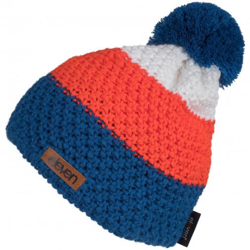 Adīta cepure POM zila/oranža