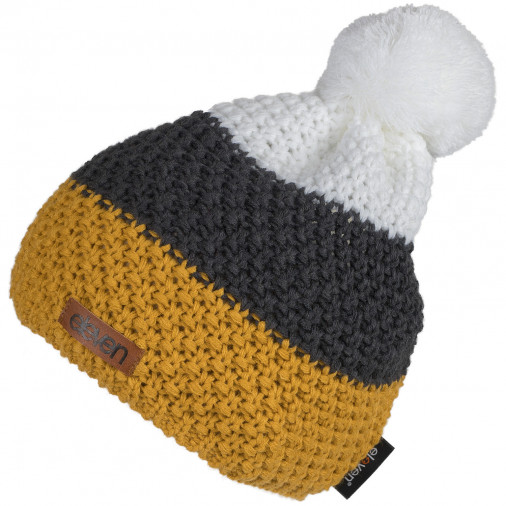 Adīta cepure POM dzeltena/pelēka