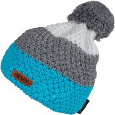 Adīta cepure POM tirkīza/pelēka
