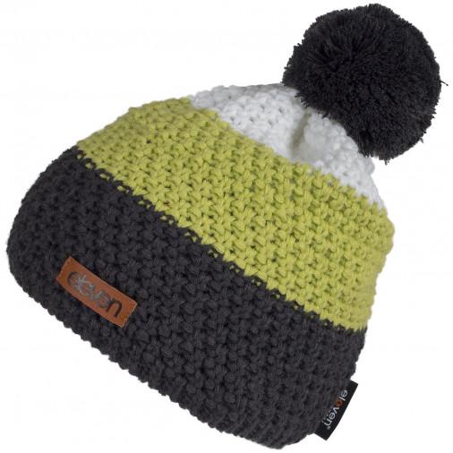 Adīta cepure POM zaļa/pelēka