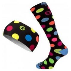 ELEVEN set DOTS black compression socks + headband