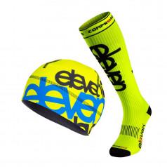 Fluo compression socks and Matty F11 warm beanie