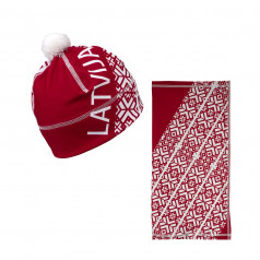 Sports scarf and beanie Latvija red
