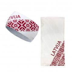 Galvas saite un sporta šalle ar Latvijas simboliku