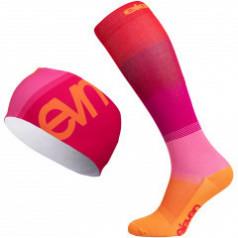 Mono pink compression socks and sports headband