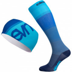 Mono blue compression socks and headband