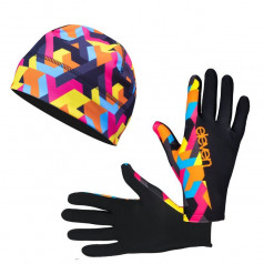Running accessories gloves and beanie Retro 08 discount set