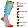 Compression socks for running, sports, active lifestyle, travelling, hiking, and other activities.