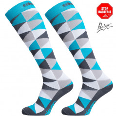 Long compression socks STARS blue