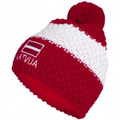 Knitted beanie POM LATVIA red
