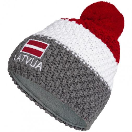 Knitted beanie POM LATVIA grey