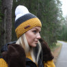 Knitted beanie POM mustard yellow