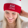 Knitted beanie POM LATVIA red