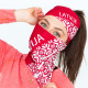 Multifunctional scarf cap LATVIA red