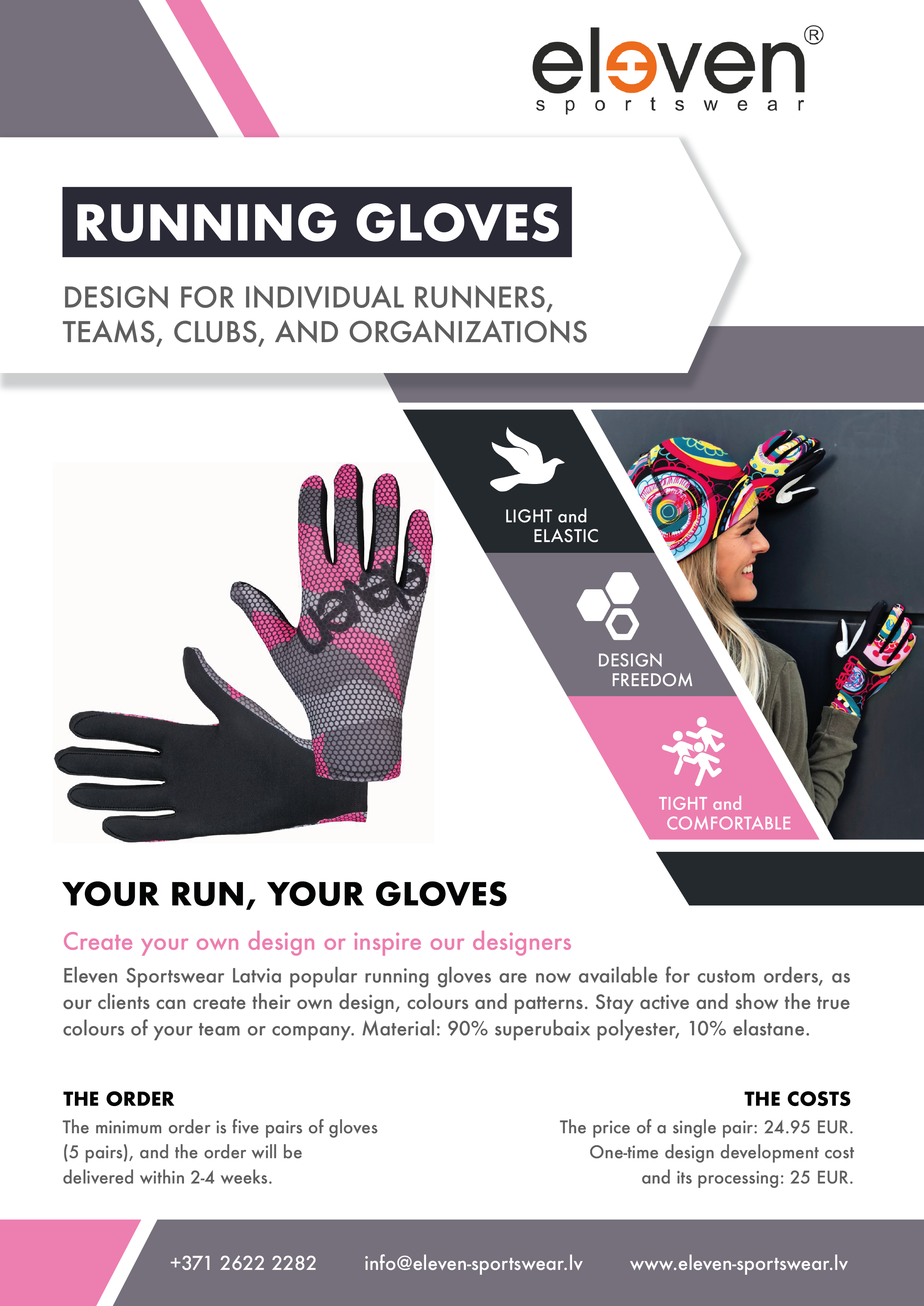 Custom design gloves for running and sports