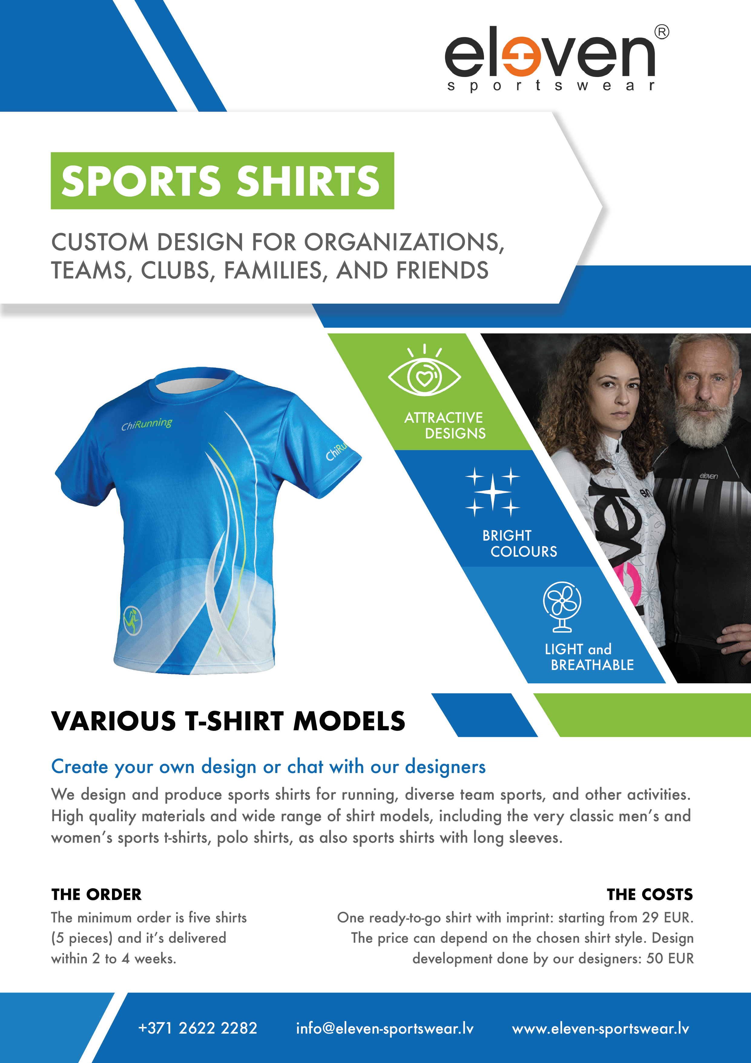 Custom t-shirts for sports, polo shirts, custom design long sleeve shirts