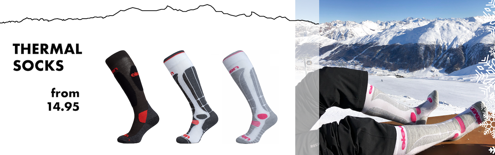 Warm winter socks for skiing and other activities during the cold days of the sports year