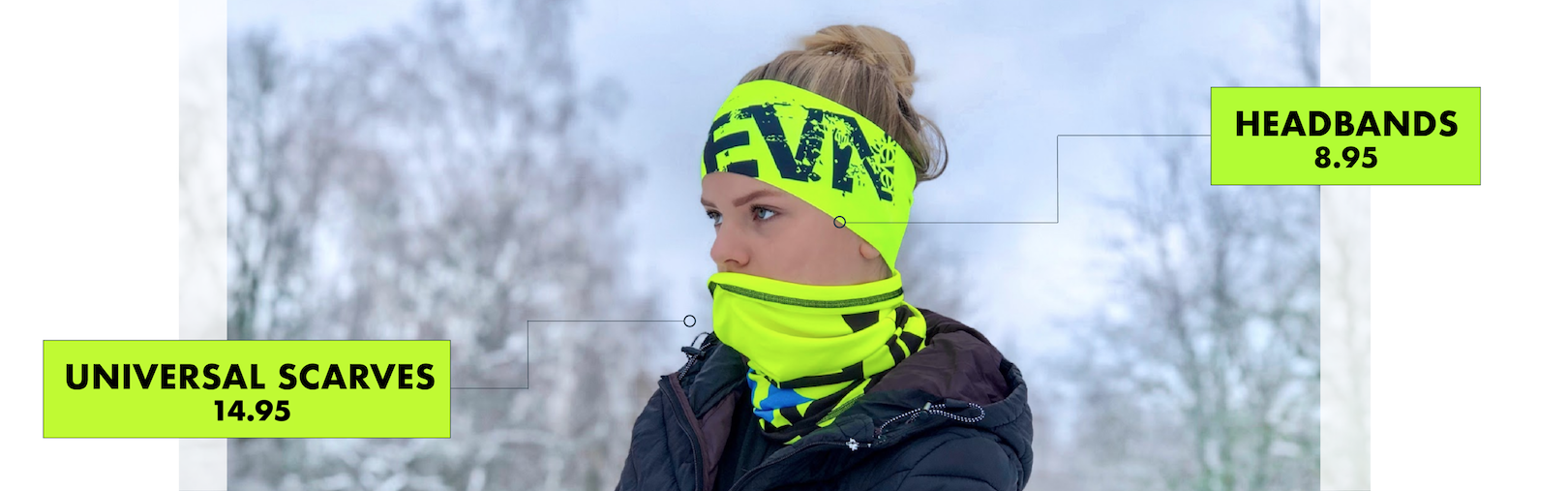 Winter accessories: headbands and multifunctional scarves