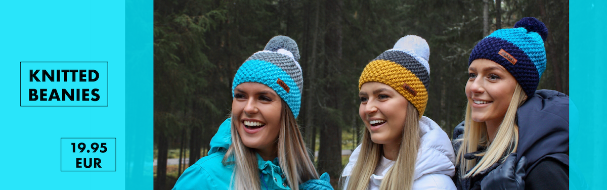Warm and stylish knitted beanies with Pom